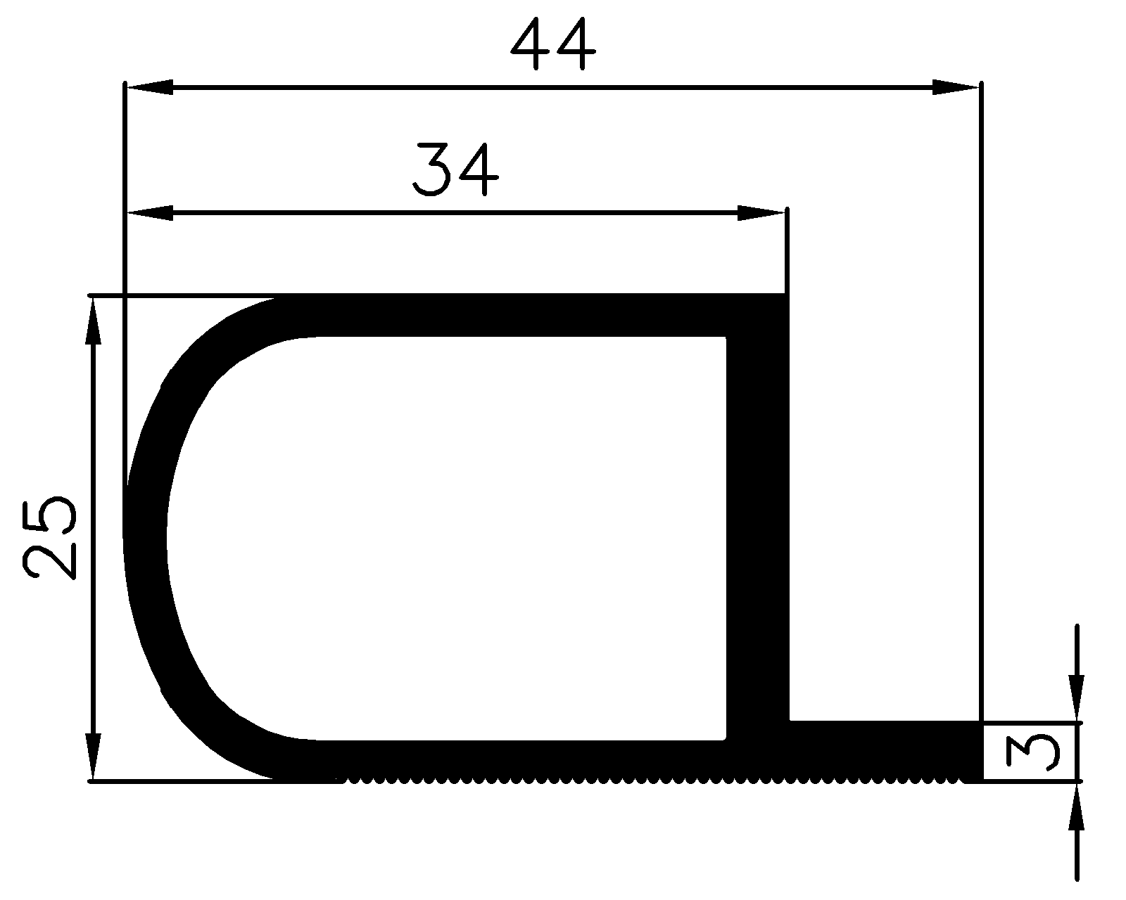 15170370KG - EPDM rubber profiles - Sliding door – finger-guard profiles